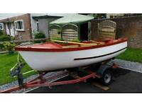 13 ft fishing boat with adjustable roller trailer