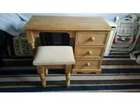 Pine solid wood dressing table with stool.