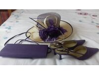 Matching hat, shoes (size 6) and handbag in lilac