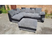 Fabulous BRAND NEW black and grey jumbo cord corner sofa and footstool,any side,can deliver