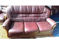Brown leather 3 seater sofa and two chairs