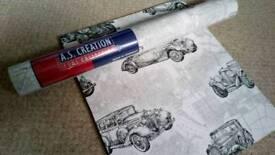 Full roll of vintage car wallpaper