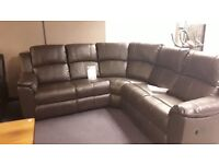 BRAND NEW BROWN LEATHER MANUAL RECLINING CORNER SOFA 12 MONTH WARRANTY