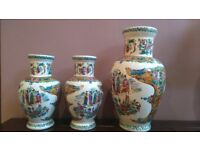 Chinese effect vases, set of 3