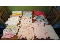 Bundle of baby girl clothing newborn and 0-3 months