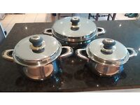 Stainless steel quality saucepans, set of three, German Sollingen 18/10 grade steel