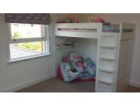 ASPACE Cabin Bed incl Integrated Wardrobe and Detachable Desk White Excellent Condition