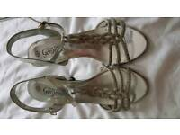 Silver sandals size 4
