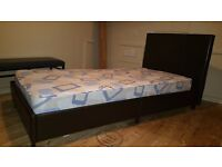 Single faux leather bed and mattress 1 week old