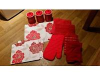 Bundle of red kitchen accessories & Storage cannisters