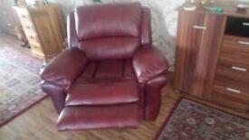 Italian leather 3 piece plus 2 chair reclining