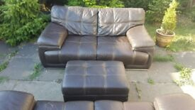 LEATHER SOFA AND FOOTSTOOL +FREE DELIVERY