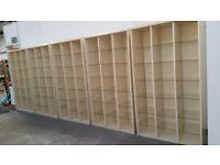 Five triple bay display/shop units with glass shelves, cheap to clear £ 10 each