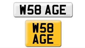 W58 AGE private cherished personalised personal registration plate number