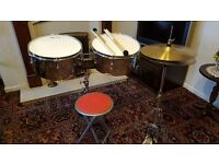 Timbale drum and cymbal set with stands and stool