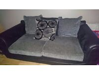 Corner sofa with footstool and 3 seater fabric