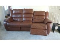 Leather Reclining Sofa and Armchair