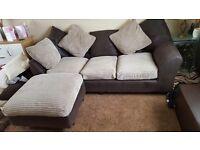 Leftside jumbo cord corner sofa