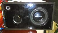 10 inch pioneer 800 watt sub with box and wires