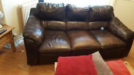 2 brown leather 3 seater sofas for sale