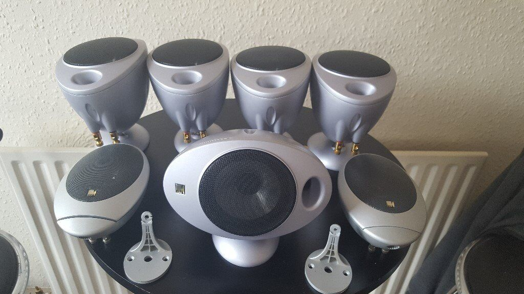 kef egg. 7 kef egg surround sound speakers,2 x hts1001,5 hts2001,superb