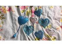 Blue and Silver Glitter Heart Decorations