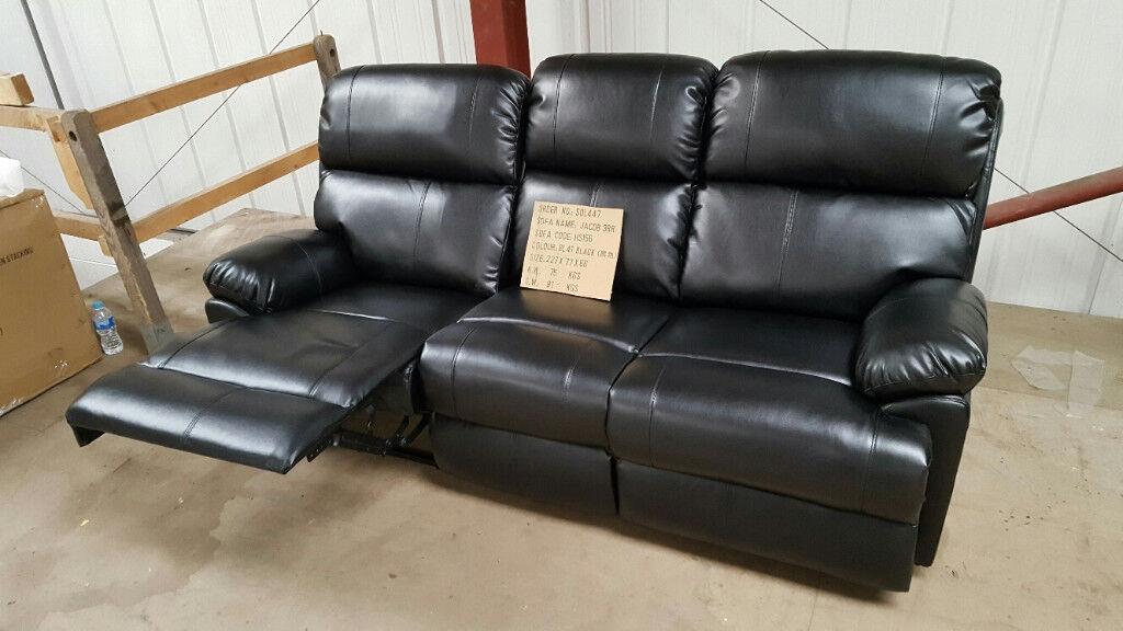 AUTUMN SALE New Premium Recliner Jacob Faux Leather Three Seat Sofa £280