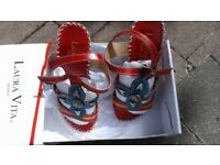 Red Blue Summer Ladies Sandal. Size 2 (35)