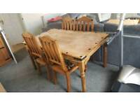 Rustic Solid Wood Large Dining room Table and Chairs