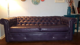 chesterfield funky designer reupholstered purple leatherette couch sofa footstool
