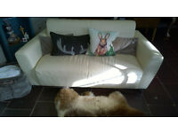 2 Seater Leather Sofa Cuddle Chair Loveseat - Chrome Legs - Ivory White Cream