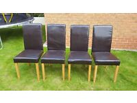 4 x brown leather dining room chairs