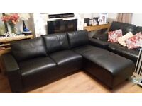 LEATHER SOFA WITH CHAISE LOUNGE