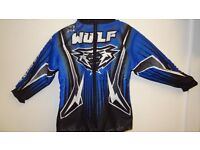 wulfsport jacket motocross motox quad youth size 28 approx age 7 in blue
