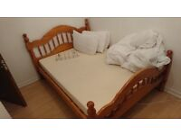 Double bed frame (wooden) with two underbed storage units