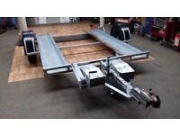 *** Nearly New small car galvanised transporter car trailer- Knott Hitch, Jockey Wheel & Winch***