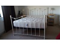 King Size White Metal Bedstead.