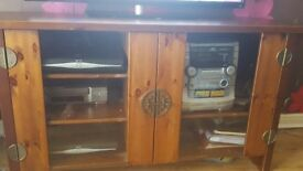 Solid wood tv unit and matching side tables