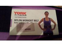 BNIP YORK FITNESS Nylon Workout Training Belt Suits Waist Size 30 - 36 Black Purple