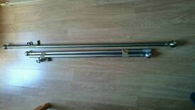 Brushed steel curtain poles x2