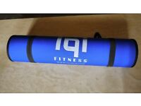 Pilates / Yoga fitness mat, Blue, roll up, with carry strap