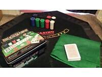 Poker set and table top board.