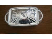 Rectangular silver plated and glass serving dish