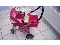 Mamas & Papas Girls 3 in 1 Dolls Pram Pink Folding Toy Stroller