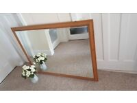 Very large pine framed bevelled mirror on very good condition