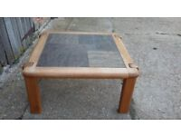 Large Very Heavy Solid Oak and Tile Coffee Table Dyrlund.