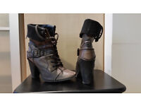 Ladies black leather lace-up boots, size 6