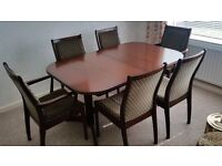 Large Mahogany Dining Table and 6 Chairs. Extending.