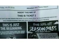 2 tickets for Alton towers