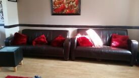 2 Brown leather Sofas (3 seats and 2 seats)